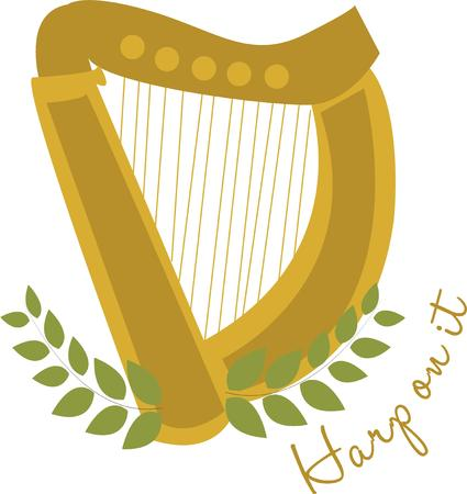 dwell: This harp provides angelic music.  Add this lovely instrument to a portfolio for your favorite musicians music sheets. Illustration