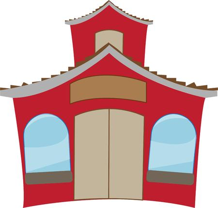 one room school house: Back to school time is here and this school house is ready.  This cute little school house is the perfect accent for your classroom Illustration