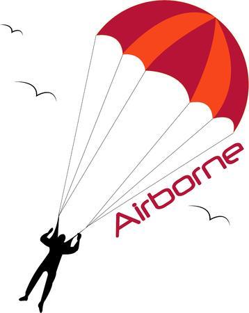 fallschirmj�ger: Unsere kleine Fallschirmj�ger ist durch den Himmel segeln auf der Suche nach seinem n�chsten Abenteuer. Wir lieben diesen Spa� Reminiszenz an Kindheit Spielzeug auf Kinderkleid Superspa�