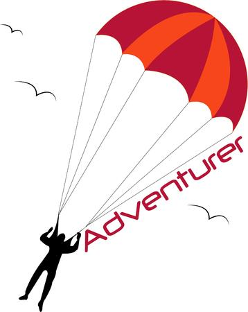 paratrooper: Our little paratrooper is sailing through the sky in search of his next adventure.  We love this fun throwback to childhood toys on kids apparel  Super fun Illustration