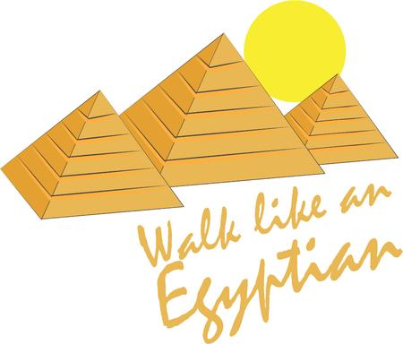 khufu: Travel to exotic Egypt and tour the Great Pyramids of Giza.  Use this design for travel poster or geography class dcor.