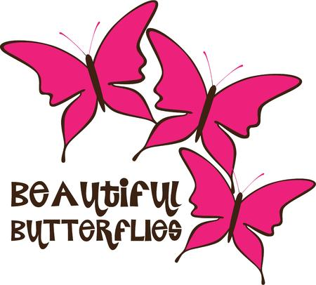 decorative items: A trio of lovely pink butterflies is a perfect adornment to apparel and decorative items.  Butterflies are always a happy adornment.