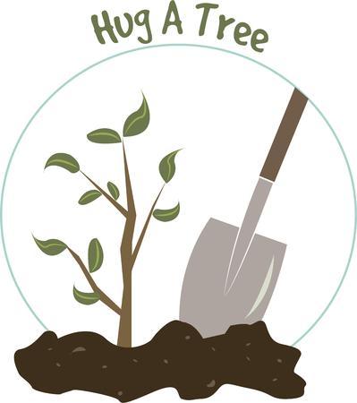 plantando arbol: Anime y celebrar la naturaleza con este dise�o de plantaci�n de �rboles. Perfecto para el D�a del �rbol. Vectores