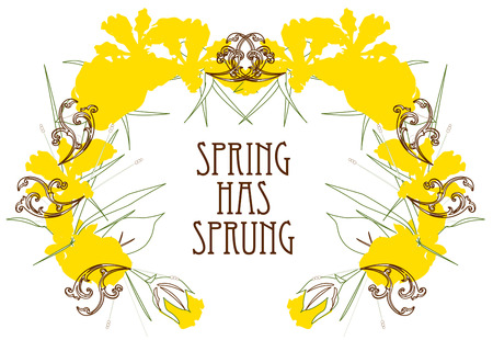 sprung: Find a remedy for spring fever in this lovely wreath of yellow flowers.  Add your text or ours to create something truly memorable.