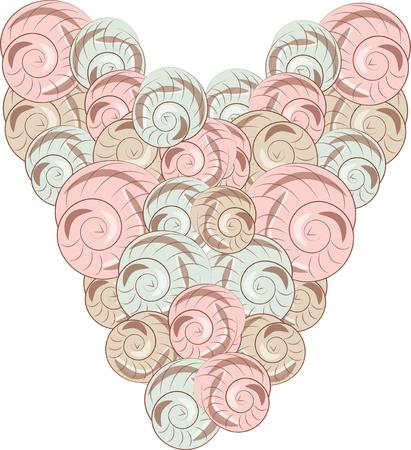 clam: Seashells come together to form a most unusual heart. This design is an amazing embellishment for bath towels and linens.