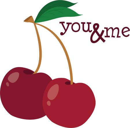 drupe: Cherries add a trendy flair.  Two perfect cherries are just amazing to decorate kitchen gear. Illustration