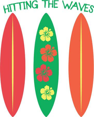 light hearted: A bright and colorful assortment of surf boards with a fun message.  A light hearted decoration for your beach gear.