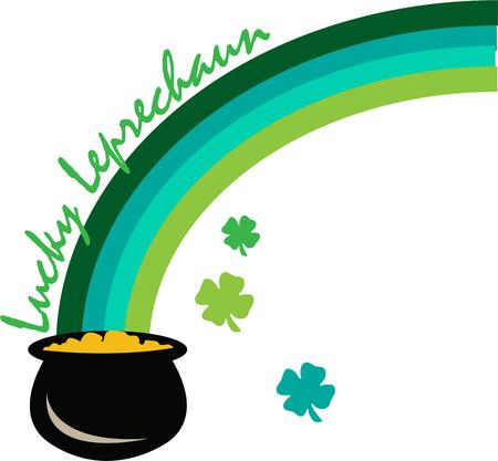 end of rainbow: Heres to the luck of the Irish with a green rainbow and a pot of gold at the end.  Here is your perfect decoration for St. Pattys Day gear.