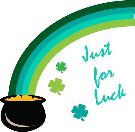 the end of a rainbow: Aqu� est� a la suerte de los irlandeses con un arco iris verde y una olla de oro al final. Aqu� est� su decoraci�n perfecta para el engranaje del d�a del St. Patty.