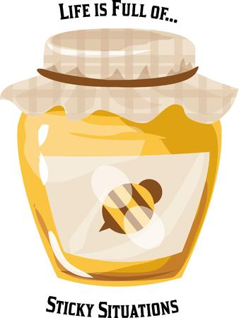 compliments: A shiny jar of honey compliments any kitchen. Illustration