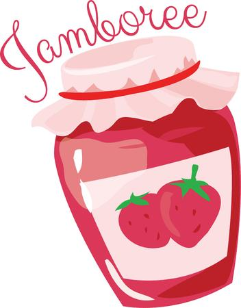 accents: Strawberry jam jar is great for kitchen accents.