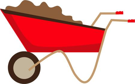 wagon wheel: Every builder or gardener needs a good wheel barrow.  This garden wagon can make moving a lot a little chore. Illustration