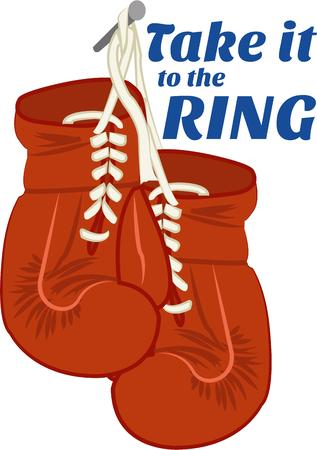 knock out: Lace up the gloves and get ready to deliver the knock out punch  These vintage boxing gloves make a fun gym bag decoration. Illustration