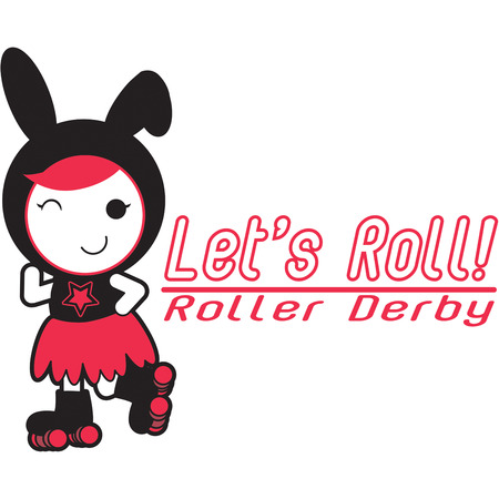 This is the cutest roller derby princess ever  Her sweet smile and cute bunny ears make her a fun embellishment for kids wear. Vector