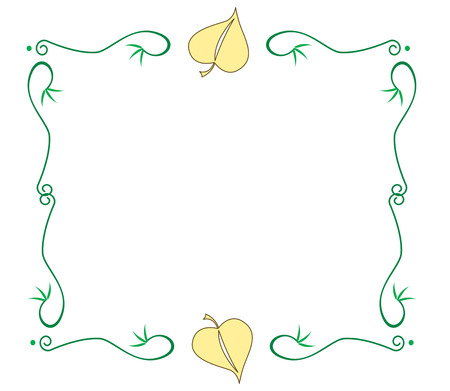 ours: Create a special message for the arrival of spring with this swirly leaf decorated frame.  Use your text or ours either way it is sure to be an artistic treasure Illustration