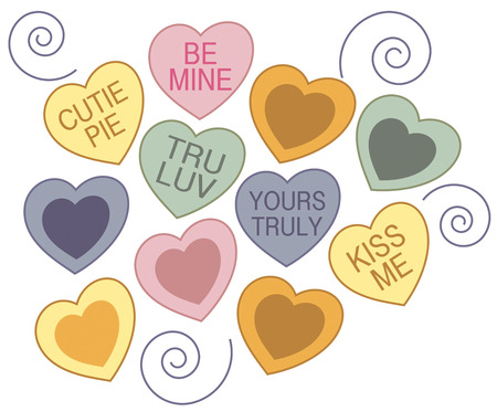 unusual valentine: Create a colorful and unusual Valentine with these conversation hearts and swirls.  They are perfect to decorate a special shirt for Valentines Day parties.