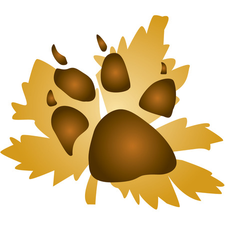 naturalist: A paw print on a leaf makes an interesting and artistic embellishment for both the hunter and the naturalist.  Great to dress up a coat Illustration