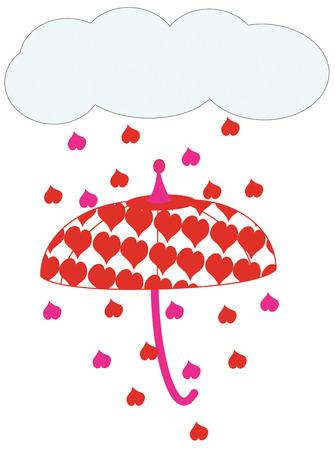 dampen: Dont let a little shower dampen your Valentine spirit.  Its raining hearts  Super fun design for your Valentine creations. Illustration