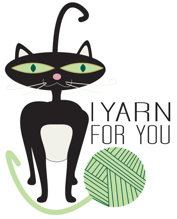 sure: A stylin  kitty has found a ball of yarn to be a fantastic toy  Hes sure to be a design any cat lover would be sure to embrace as a favorite. Illustration