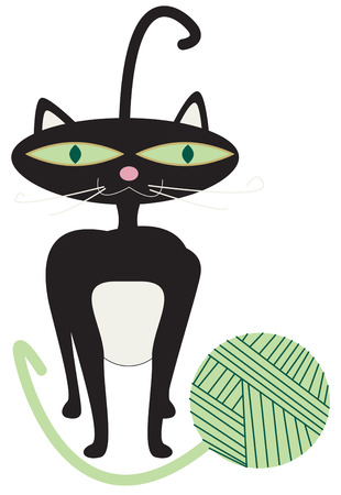 hes: A stylin  kitty has found a ball of yarn to be a fantastic toy  Hes sure to be a design any cat lover would be sure to embrace as a favorite. Illustration