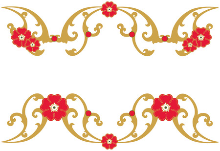 gold swirls: A festive holiday frame of gold swirls and red blooms brightens your holiday message.  Add your text or use ours for a memorable message.