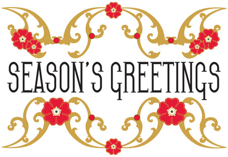 ours: A festive holiday frame of gold swirls and red blooms brightens your holiday message.  Add your text or use ours for a memorable message.