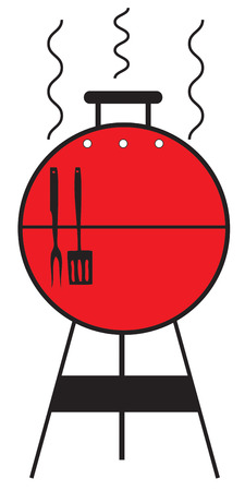 charcoal grill: An old fashion charcoal grill creates the best dishes from a barbecue chef.  Add this red grill to a special apron for your barbque chef. Illustration