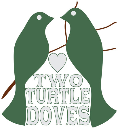 turtle dove: Two turtle doves send a message of peace and tranquility.  These simple bird silhouettes are a lovely addition to your Christmas decorating. Illustration