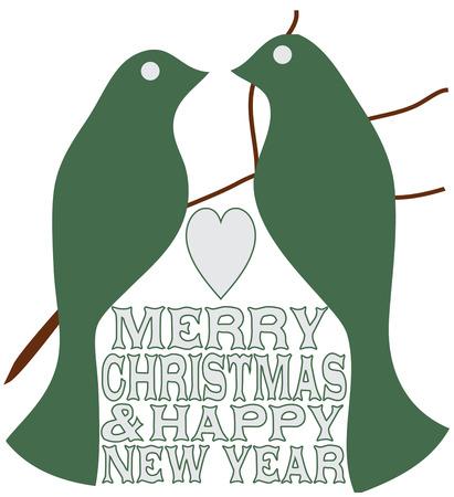 tranquility: Dos t�rtolas env�an un mensaje de paz y tranquilidad. Estas siluetas de aves simples son una adici�n encantadora a su decoraci�n de Navidad. Vectores