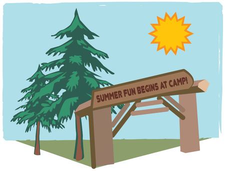 get away: A rustic camp in the woods is the perfect place for a camping get away.  Add this outdoor scene to camp shirts for your favorite campers. Illustration
