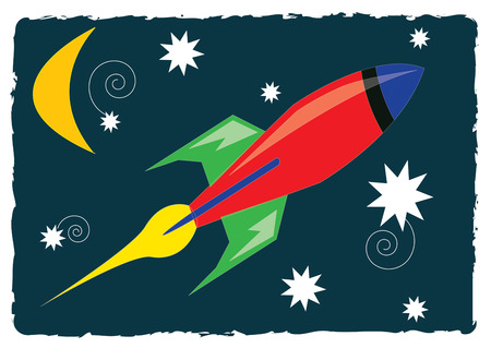 spaceflight: Fly in our rocket ship to the stars and beyond  This design is a colorful way to add that outer spa theme to kids gear of all sorts. Illustration