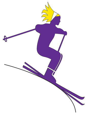 athleticism: This downhill skier is an exceptional athlete.  This display of athleticism is a great way to decorate a warm up jacket.