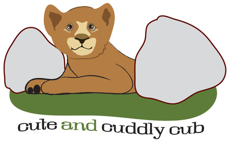 closely: Look closely between the boulders and find a baby lion cub.  Perfect apparel decoration for your little cubs wear