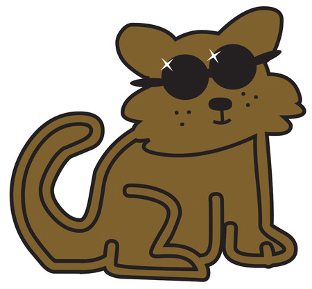 eyewear: Talk about a cool cat  This kitty in shades makes a real statement as a part of an apparel design.