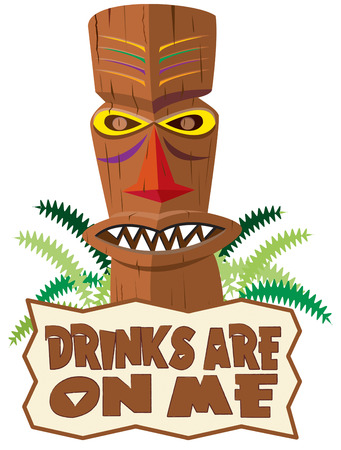 remembered: This tiki statue adds the unique feel of the tropics to your creations.  Add your text or use ours for a message sure to be remembered. Illustration
