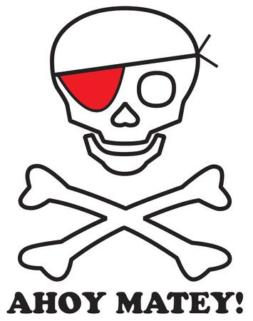 cross bones: Un cr�neo esbozado y huesos cruzados con un parche en el ojo rojo a�ade el toque pirata a sus proyectos. �Qu� ni�o no le encantar�a