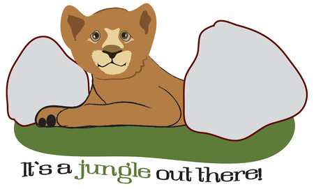 closely: Look closely between the boulders and find a baby lion cub.  Perfect apparel decoration for your little cub is wear