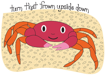 beachwear: A happy crab with pink pinchers adds a whimsical feel to your artistic endeavors.  Add him to kids beachwear for a super fun look