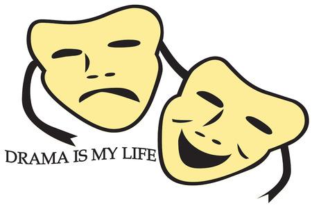 happy sad: Teatro porta l'arte e la vita insieme in un triste equilibrio felice. Aggiungere queste maschere teatrali di una creazione per una compagnia teatrale. Ottimo per cappelli e camicie. Vettoriali