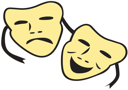 performing arts: Theatre brings art and life together in a happy sad balance.  Add these theatre masks to a creation for a drama company.  Great for hats and shirts. Illustration