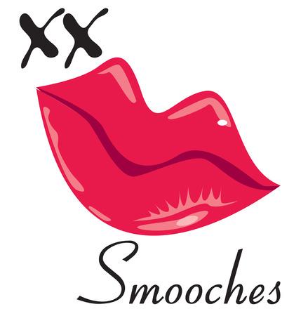 smooch: Besos de los labios rojos brillantes ponen el xx en xxoo Agregar ellos por un toque de amor y romance.