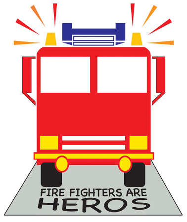 fire engine: Create something special to show your thanks to your local firefighters.  Add this bright fire engine to hats and shirts for the team. Illustration