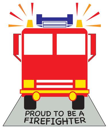 fire engine: Creare qualcosa di speciale per mostrare i vostri grazie ai vostri i vigili del fuoco locali. Aggiungi questo motore di fuoco luminoso di cappelli e magliette per la squadra. Vettoriali