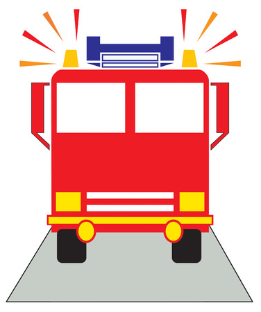 emergency vehicle: Create something special to show your thanks to your local firefighters.  Add this bright fire engine to hats and shirts for the team. Illustration