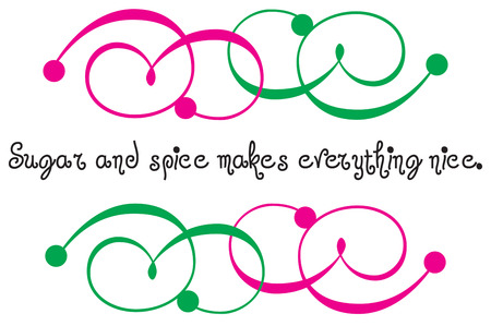 embellishment: Pink and green swirls surround a message with unique flair and appeal. A super trendy embellishment for your projects.