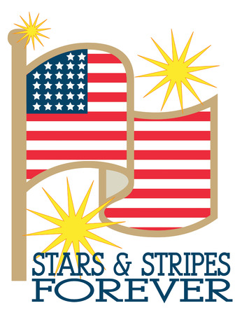 absolute: Celebrate the stars and stripes on Independence Day  or all throughout the year  Fun starbursts light up the sky to make this flag an absolute stunner. Illustration