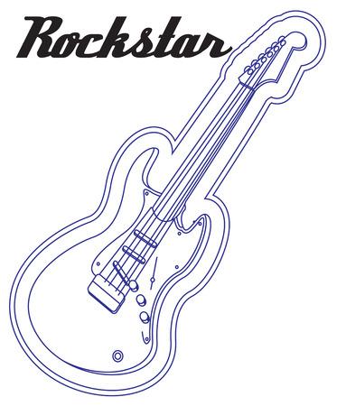 rockstar: Deze elektrische gitaar overzicht zorgt voor een unieke neon effect. Perfect voor uw favoriete muzikant. Stock Illustratie
