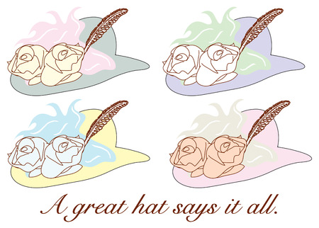 quartet: A hat goes from plain to fancy with the addition of hats and feathers.  Make a fancy pillow decorated with this quartet of fancy hats.
