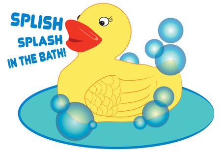 rubber ducky: A special bath toy makes bath time fun.  This rubber ducky makes a fun way to dress up the little ones bath linens.