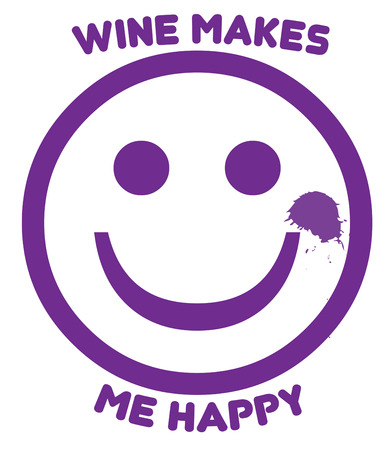 light hearted: Add a smile to your face with our purple smiling face...and a bottle of wine  Fun way to add a light hearted feel to any project. Illustration